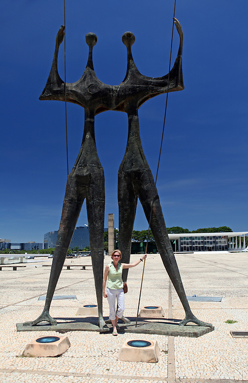 South America, Brazil, Brasilia. Os Candangos/Guerreiros sculpture in Three Powers Square, Brasilia.