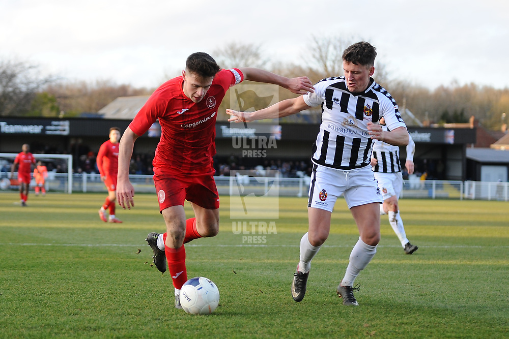 TELFORD COPYRIGHT MIKE SHERIDAN Ryan Barnett of Telford takes on Stephen Brogan  during the Vanarama Conference North fixture between Spennymoor Town and AFC Telford United at Brewery Field, Spennymoor on Saturday, February 29, 2020.<br /> <br /> Picture credit: Mike Sheridan/Ultrapress<br /> <br /> MS201920-048