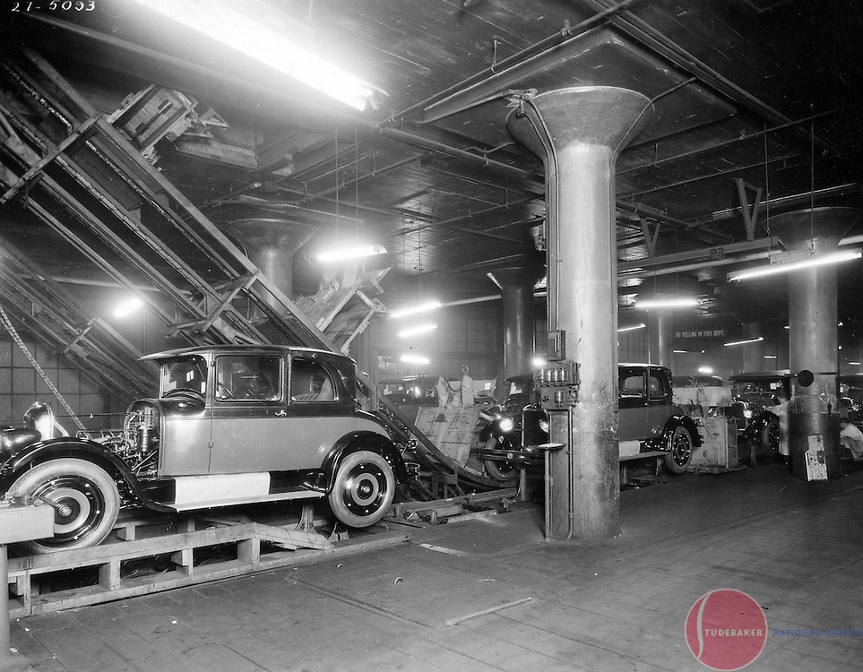 The Studebaker Corporation's final assembly line is shown in this 1927 image.