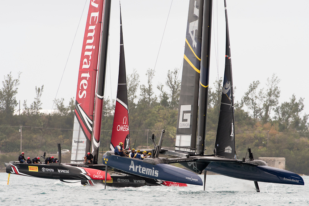 The Great Sound, Bermuda. 10th June 2017. Emirates Team New Zealand and Artemis Racing (SWE) in pre start for the first race of the Louis Vuitton America's Cup Challenger playoff finals.
