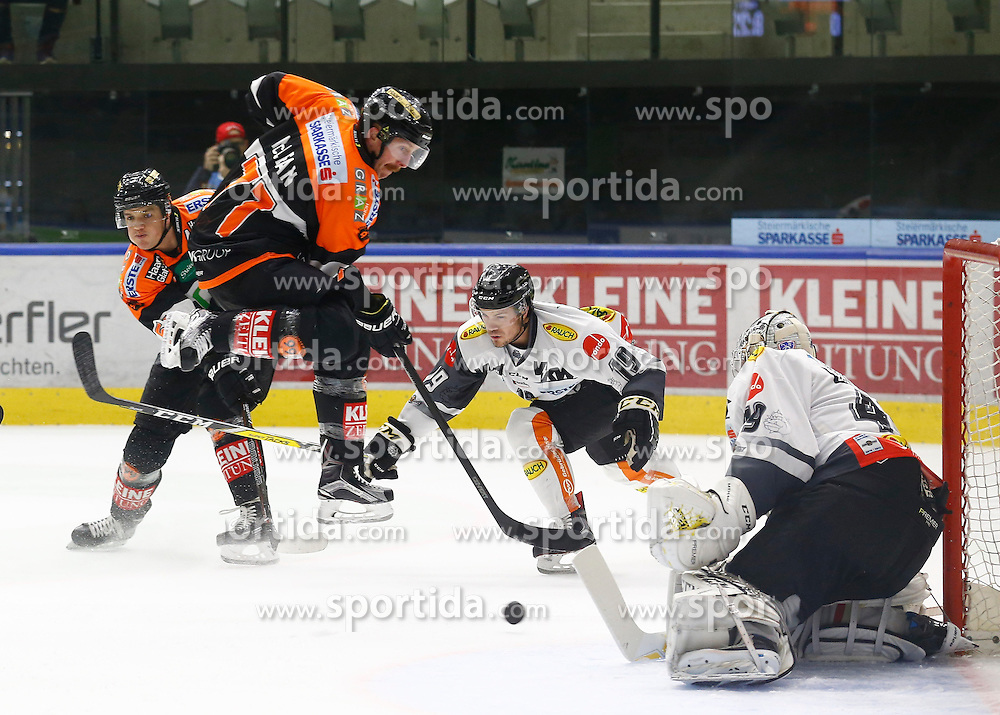 13.11.2016, Merkur Eisarena, Graz, AUT, EBEL, Moser Medical Graz 99ers vs Dornbirner Eishockey Club, 18. Runde, im Bild von links Daniel Woger (#51, Moser Medical Graz 99ers), Kurtis McLean (#71, Moser Medical Graz 99ers), Dustin Sylvester (#19, Dornbirner Eishockey Club) und Florian Hardy (#49, Dornbirner Eishockey Club) // during the Erste Bank Icehockey League 18th Round match between Moser Medical Graz 99ers and Dornbirner Eishockey Club at the Merkur Ice Arena, Graz, Austria on 2016/11/13, EXPA Pictures © 2016, PhotoCredit: EXPA/ Erwin Scheriau