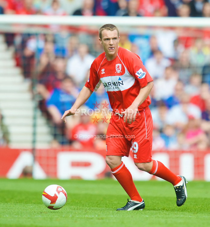 MIDDLESBROUGH, ENGLAND - Saturday, May 2, 2009: Middlesbrough's Tony McMahon in action against Manchester United during the Premiership match at the Riverside Stadium. (Pic by David Rawcliffe/Propaganda)
