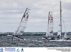 Aarhus, Denmark is hosting the 2018 Hempel Sailing World Championships from 30 July to 12 August 2018. More than 1,400 sailors from 85 nations are racing across ten Olympic sailing disciplines as well as Men's and Women's Kiteboarding. <br /> 40% of Tokyo 2020 Olympic Sailing Competition places will be awarded in Aarhus as well as 12 World Championship medals. ©JESUS RENEDO/SAILING ENERGY/AARHUS 2018<br /> 05 August, 2018.