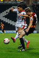 Daniel Powell of Milton Keynes Dons battles with Stephen Darby of Bradford City during the Sky Bet League 1 match at stadium:mk, Milton Keynes<br /> Picture by David Horn/Focus Images Ltd +44 7545 970036<br /> 16/09/2014