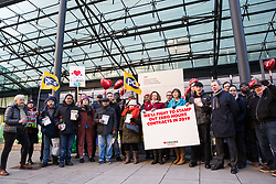 London, UK. 14th February, 2019. Frances O'Grady (General Secretary of the TUC), Fran Heathcote (President of the DWP group of PCS) and Mark Serwotka (General Secretary of PCS) show solidarity on a Valentine's Day-themed picket line outside the Department of Business, Energy and Industrial Strategy (BEIS) with outsourced support staff taking strike action to demand the London Living Wage and an end to outsourcing.