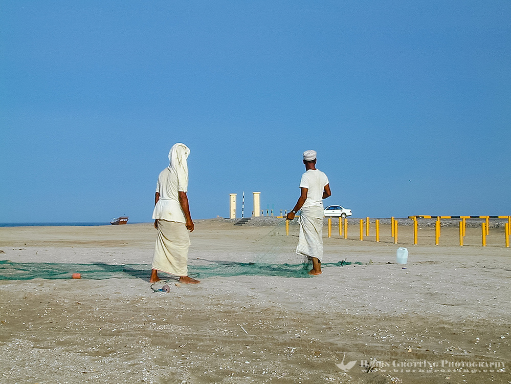 Oman. Suwadi al Batha in the Al Batinah region is located on the coast of the Gulf of Oman, and is a popular diving spot. Fishermen.