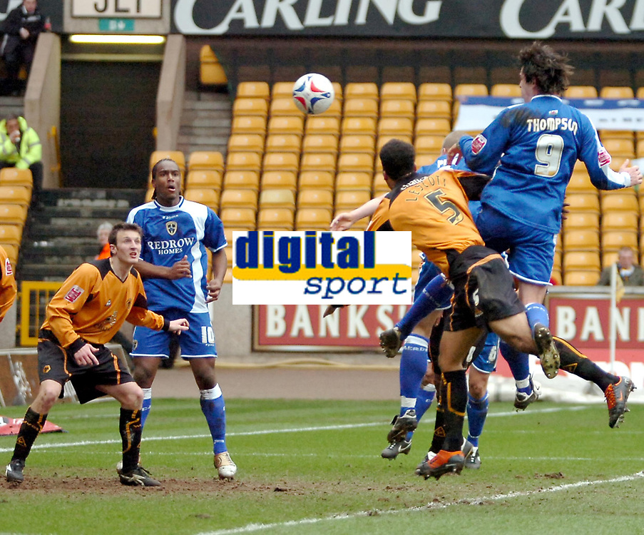 Photo: Ed Godden.<br />Wolverhampton Wanderers v Cardiff City. Coca Cola Championship. 11/03/2006. <br />Steven Thompson heads the ball goal-bound for Cardiff.