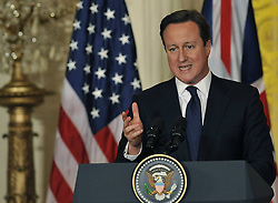 59640508  .British Prime Minister David Cameron speaks during a joint press conference with U.S. President Barack Obama following their talks at the White House in Washington D.C. on May 13, 2013. Photo by: imago / i-Images. UK ONLY