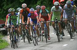 First group (Franco Pellizotti of Italia (Liquigas), Simon Spilak of Slovenia (Lampre), Matija Kvasina of Croatia (Perutnina Ptuj), Jure Golcer of Slovenia (LPR Brakes)) climbing to Krvavec during 3rd stage of the 15th Tour de Slovenie from Skofja Loka to Krvavec (129,5 km) , on June 13,2008, Slovenia. (Photo by Vid Ponikvar / Sportal Images)/ Sportida)