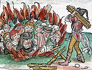The burning of Jews in germany shown in a coloured woodblock illustration from Liber Chronicarum (The Nuremberg Chronicle) By Hartmann Schedel(1493)