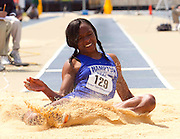 Hampton University senior Racquel Vassell during the long jump at the 2011 MEAC Track and Field Championship held at North Carolina A&T in Greensboro, North Carolina.  (Photo by Mark W. Sutton)
