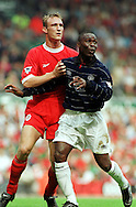 11.09.1999, Anfield Road, Liverpool, England. .FA Premiership, Liverpool FC v Manchester United. Sami Hyypi? (LFC) v Andy Cole (ManU)..©JUHA TAMMINEN