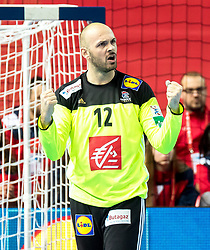 16.01.2018, Zatika Sport Centre, Porec, CRO, EHF EM, Herren, Frankreich vs Weissrussland, Gruppe B, im Bild Vincent Gerard (FRA) // during the preliminary round, group B match of the EHF men' s Handball European Championship between France and Belarus at the Zatika Sport Centre in Porec, Croatia on 2018/01/16. EXPA Pictures © 2018, PhotoCredit: EXPA/ Sebastian Pucher