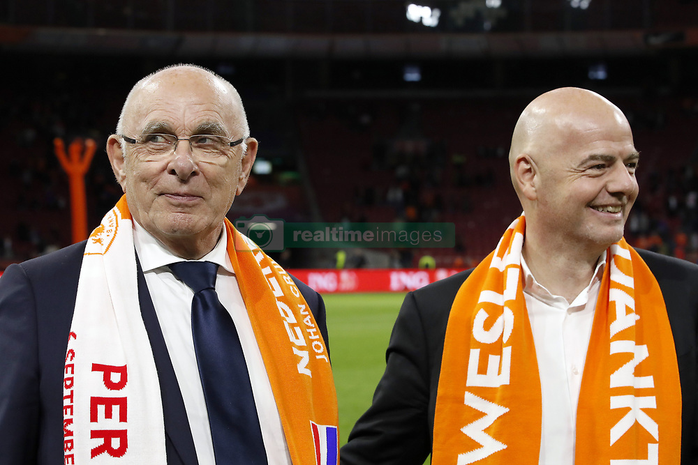 (L-R) KNVB chairman Michael van Praag, FIFA president Gianni Infantino during the International friendly match match between The Netherlands and Peru at the Johan Cruijff Arena on September 06, 2018 in Amsterdam, The Netherlands