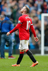 Wayne Rooney of Manchester United looks dejected after Manchester City win the game 1-0 - Photo mandatory by-line: Rogan Thomson/JMP - 07966 386802 - 02/11/2014 - SPORT - FOOTBALL - Manchester, England - Etihad Stadium - Manchester City v Manchester United - Barclays Premier League.