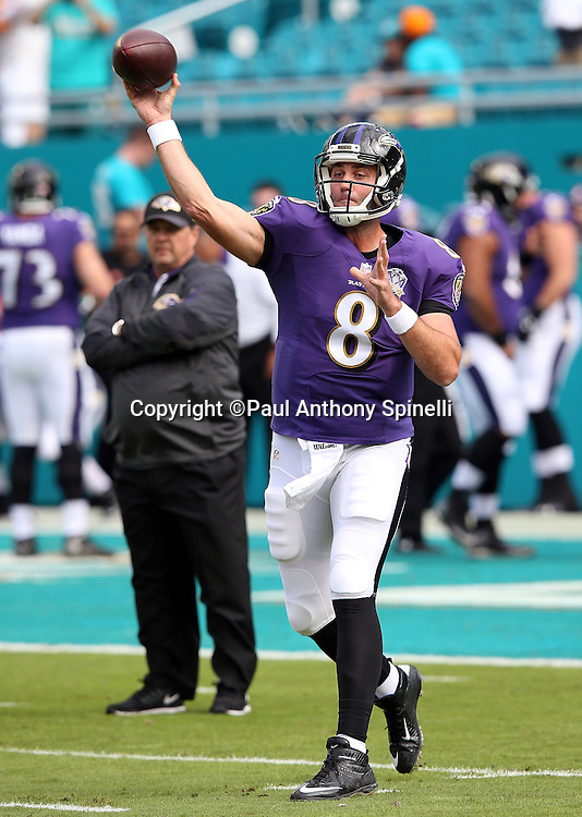 Baltimore Ravens quarterback Matt Schaub (8) throws a pass while warming up before the 2015 week 13 regular season NFL football game against the Miami Dolphins on Sunday, Dec. 6, 2015 in Miami Gardens, Fla. The Dolphins won the game 15-13. (©Paul Anthony Spinelli)