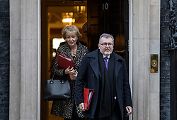© Licensed to London News Pictures. 08/01/2019. London, UK. Scotland Secretary David Mundell (R) and Leader of the House of Commons Andrea Leadsom (L) leave 10 Downing Street. Photo credit: Rob Pinney/LNP