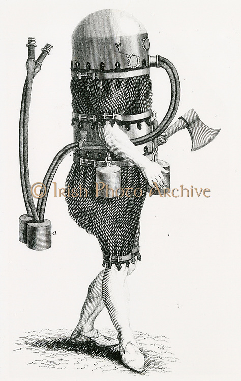 'Side view of diver in a diving suit by C.H. Klingert of Breslau, 1797.  Domed cylinder of tinplate put over diver's head and suit of waterproof leather. Air supplied through tube from mother ship above. Engraving c1870.'