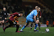 Adam Henley and Luke Varney  during the EFL Sky Bet League 2 match between Bradford City and Cheltenham Town at the Utilita Energy Stadium, Bradford, England on 28 January 2020.