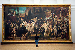 "Painting ""The Entrance of Emperor Charles V (1500-58) into Antwerp in 1520"" by Hans Makart at Kunsthalle art gallery in Hamburg Germany"