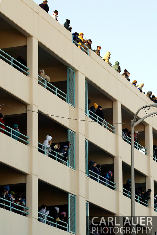3/3/2007:  Anchorage Alaska -  Fans pack a shopping mall parking garage to watch the start of the 35th Iditarod Sled Dog Race