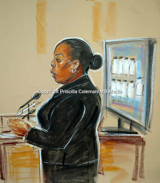 ©Priscilla Coleman ITV News..Supplied by: Photonews Service Ltd Old Bailey..Pic shows: Sanora Sealey a witness at Woolwich Magistrates Court in the trial of the failed July 21 bombers...Illustration: Priscilla Coleman ITV News