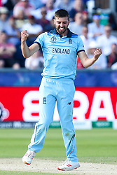 Mark Wood of England celebrates taking the wicket of Mitchell Santner of New Zealand - Mandatory by-line: Robbie Stephenson/JMP - 03/07/2019 - CRICKET - Emirates Riverside - Chester-le-Street, England - England v New Zealand - ICC Cricket World Cup 2019 - Group Stage