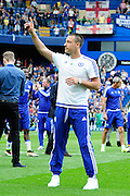 Chelsea's John Terry thanks his fans after the Barclays Premier League match between Chelsea and Leicester City at Stamford Bridge, London, England on 15 May 2016. Photo by Jon Bromley.
