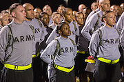 Male and female Drill Sergeant candidates at the US Army Drill Instructors School Fort Jackson line up before taking their physical training test early morning September 27, 2013 in Columbia, SC. While 14 percent of the Army is women soldiers there is a shortage of female Drill Sergeants.