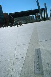 GERMANY BERLIN APR04 - Outline of the Berlin Wall on Potsdamer Platz, Berlin.<br /> <br /> <br /> <br /> jre/Photo by Jiri Rezac <br /> <br /> <br /> <br /> © Jiri Rezac 2004