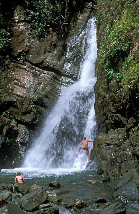La Mina Falls in El Yunque rainforest; Caribbean National Forest, Puerto Rico.