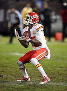 Kansas City Chiefs punt returner Frankie Hammond Jr. (85) catches a punt during the NFL week 12 regular season football game against the Oakland Raiders on Thursday, Nov. 20, 2014 in Oakland, Calif. The Raiders won their first game of the season 24-20. ©Paul Anthony Spinelli