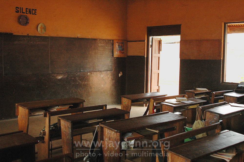 Ghana, Accra, Kokomlemle, 2007. A temporarily empty classroom at the Kwameh Nkrumah Memorial School. Demand for space exceeds Accra's capacity.