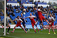 Federico Macheda of Cardiff city &copy; heads wide of the goal. Skybet football league championship match, Cardiff city v Charlton Athletic at the Cardiff city Stadium in Cardiff, South Wales on Saturday 7th March 2015.<br /> pic by Andrew Orchard, Andrew Orchard sports photography.