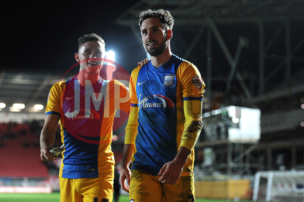 Greg Cunningham of Preston North End celebrates after the game as he scores the winning goal against his former team Bristol City - Mandatory byline: Dougie Allward/JMP - 12/01/2016 - FOOTBALL - Ashton Gate - Bristol, England - Bristol City v Preston North End - Sky Bet Championship