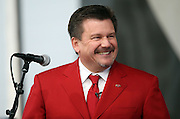 Arizona Cardinals team president Michael J. Bidwill smiles as he speaks during a pep rally on the Great Lawn before the Arizona Cardinals NFL NFC Divisional round playoff football game against the Green Bay Packers on Saturday, Jan. 16, 2016 in Glendale, Ariz. The Cardinals won the game in overtime 26-20. (©Paul Anthony Spinelli)