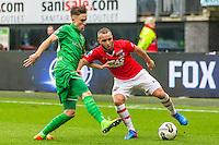 ALKMAAR - 26-02-2017, AZ - PEC Zwolle, AFAS Stadion, PEC Zwolle speler Ryan Jared Thomas, AZ speler Iliass Bel Hassani