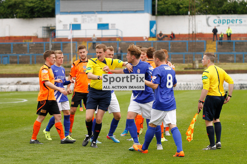 Cowdenbeath FC V Stranraer FC, Scottish League 1, 8th August 2015Cowdenbeath FC V Stranraer FC, Scottish League 1, 8th August 2015<br /> <br /> ALTERCATION WITH PLAYERS AFTER REF CALLED FOUL LEADS TO COWDENBEATH #8 DECLAN HUGHES BEING SENT OFF