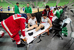 Injured Erjon Kastrati of Petrol Olimpija during basketball match between KK Petrol Olimpija and KK Sentjur in Round #7 of Nova KBM League 2017/18, on November 20, 2017 in Arena Stozice, Ljubljana, Slovenia. Photo by Vid Ponikvar / Sportida