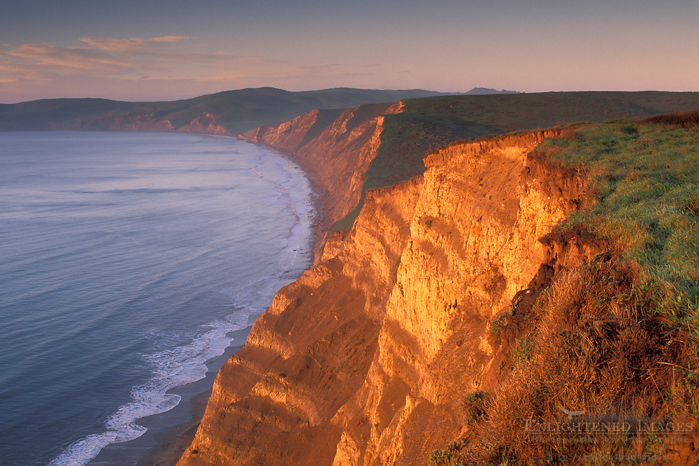 Sunrise light on coastal cliffs above Drakes Beach, Drakes Bay, Point Reyes National Seashore, Marin County, California Sunrise light on coastal cliffs above Drakes Bay, Point Reyes National Seashore, Marin County, California