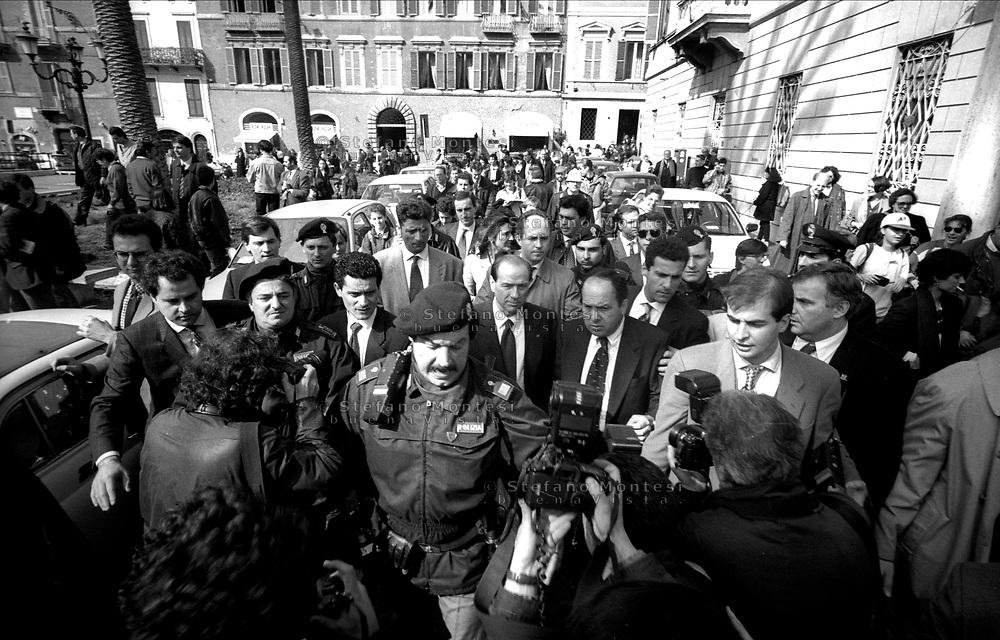 Roma Marzo 1994.Silvio Berlusconi inaugura la campagna elettorale per le vie di Roma .Rome March 1994.Silvio Berlusconi opens the electoral campaign for the streets In Rome  .March 1994.
