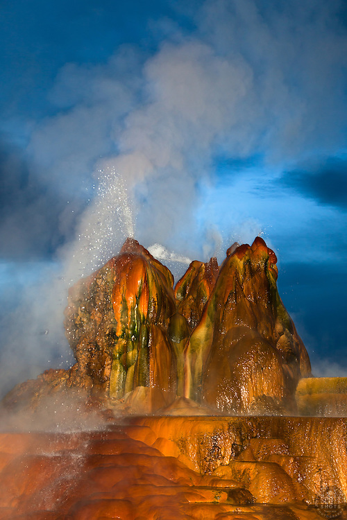"""Fly Geyser at Night 1"" - Photograph of the famous man made Fly Geyser in Nevada, shot at night."