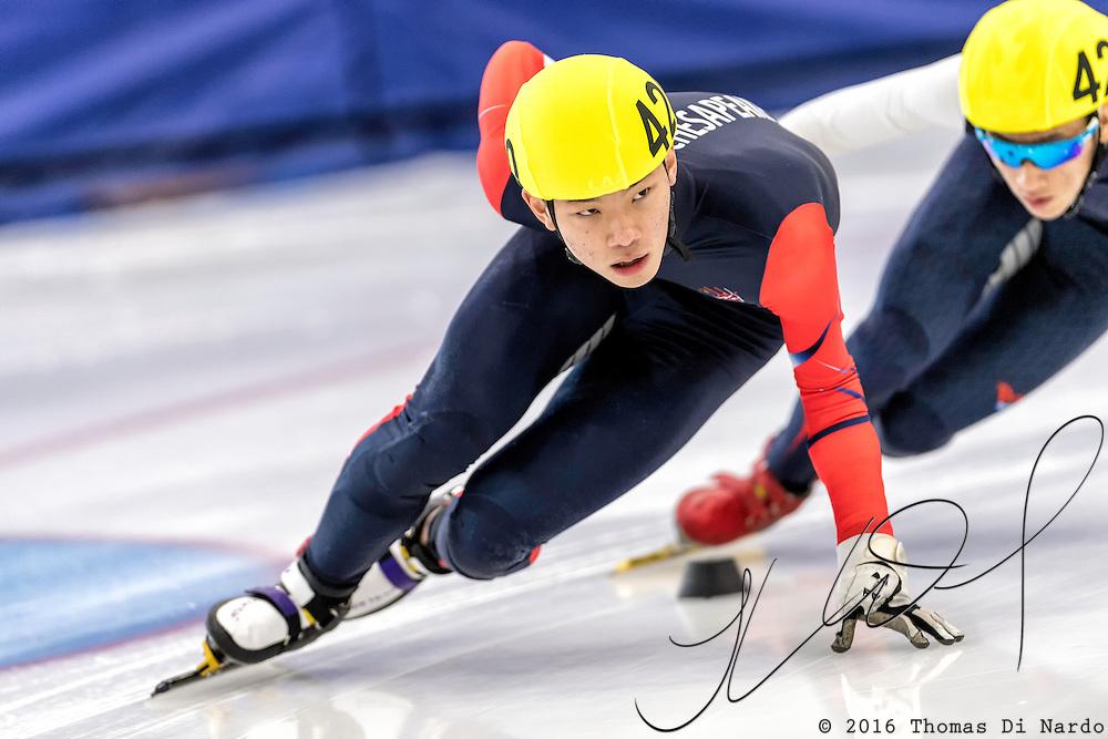 December 17, 2016 - Kearns, UT - Brian Rhim skates during US Speedskating Short Track Junior Nationals and Winter Challenge Short Track Speed Skating competition at the Utah Olympic Oval.
