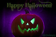 Halloween Jack-o-lantern artistic lighting and smoke effects