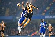 Chelsea defender Cesar Azpilicueta (28), Hull City midfielder Sam Clucas (11) during the Premier League match between Chelsea and Hull City at Stamford Bridge, London, England on 22 January 2017. Photo by Sebastian Frej.