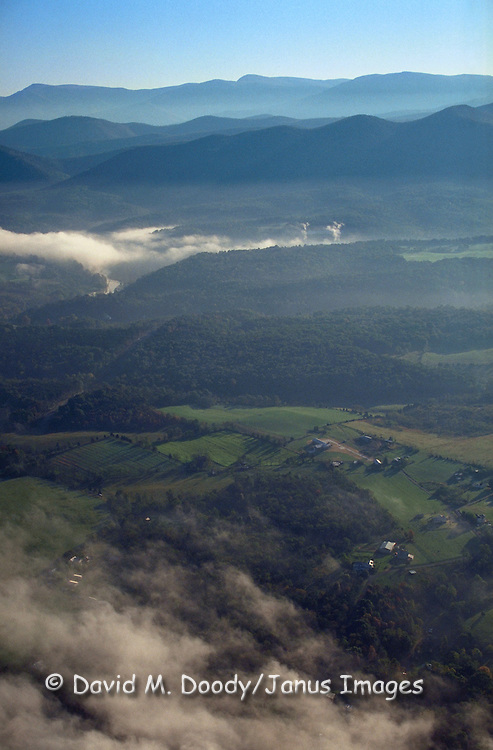 Aerial view of the Shenandoah Valley (North-Eastern area), Virginia. The Shenandoah River runs below the fog at center left.