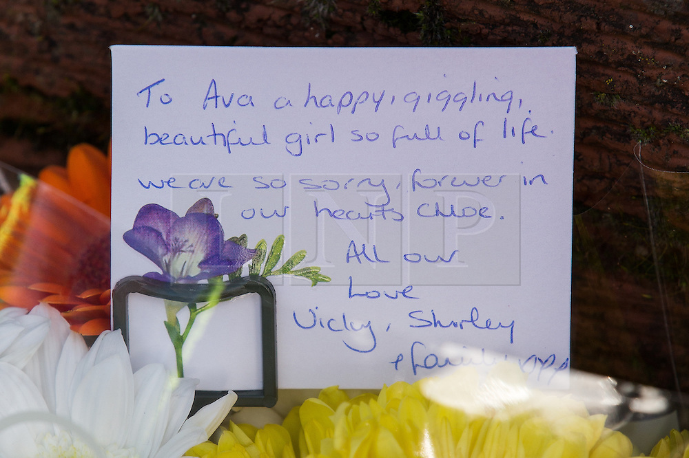 © Licensed to London News Pictures . 11/02/2014 . Blackburn , UK . Tribute left at the scene dedicated to Ava and Chloe from Vicky and Shirley . A forensic scenes of crime investigator at the scene . Police and forensic examiners on Emily Street in Blackburn at the scene where an eleven month old baby girl was mauled to death late last night (10th February 2014) . Photo credit : Joel Goodman/LNP