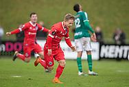Jeppe Kjær (FC Helsingør) jubler efter scoringen til 1-2 under kampen i 2. Division mellem Boldklubben Avarta og FC Helsingør den 10. november 2019 i Espelunden (Foto: Claus Birch).
