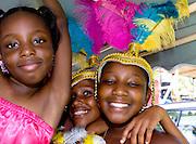 Dancers in costume before the Carnival Parade, St. John, U.S. Virgin Islands.