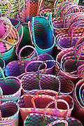 Woven baskets for sale at Mahébourg market.